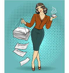 business woman in retro pop vector image