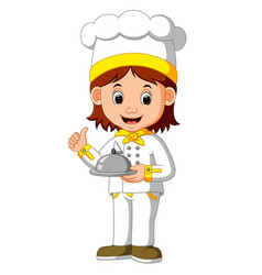 chef cook holding dish vector image vector image