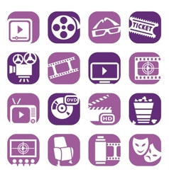 Color cinema icons setjpg vector