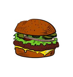 Color sketch cheeseburger vector