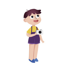 curious cartoon little boy standing with camera vector image