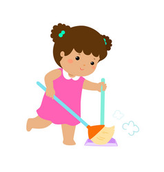 Cute girl sweeping the dust on a white background vector