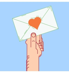envelope in hand valentines vector image