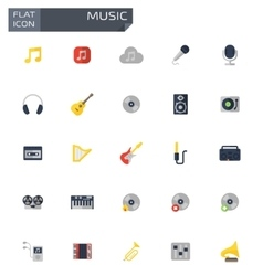flat music icons set vector image vector image