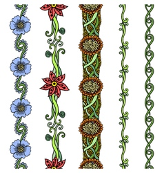 floral borders set vector image