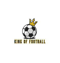 football ball logo in gold crown lettering t vector image