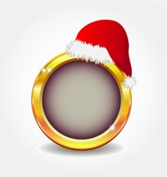 gold button with Santa's hat vector image