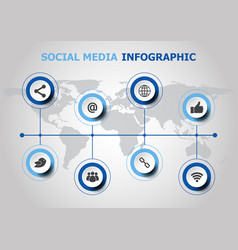 infographic design with social media icons vector image