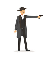 mafia hitman character in gray coat and fedora hat vector image vector image