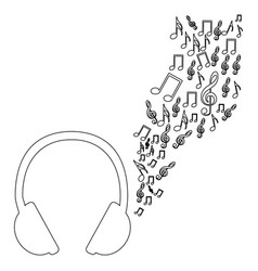 monochrome contour of headphones with music sound vector image vector image