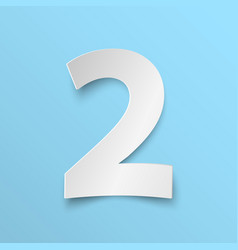 number 2 cut paper vector image vector image