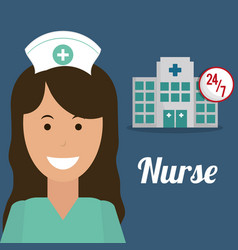 Nurse medical hospital service 24-7 vector