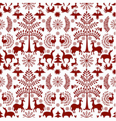 otomi style winter pattern vector image