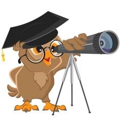 Owl astronomer looking through a telescope vector