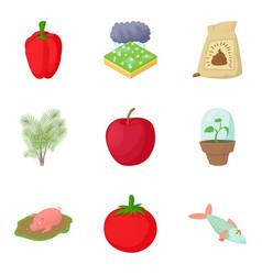 Peasant farming icons set cartoon style vector