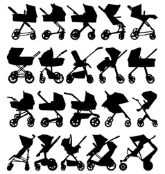 Pram and pushchair silhouettes vector