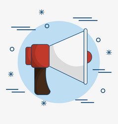 Red and white bullhorn icon vector