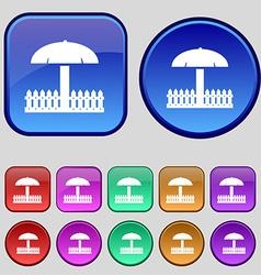 Sandbox icon sign a set of twelve vintage buttons vector
