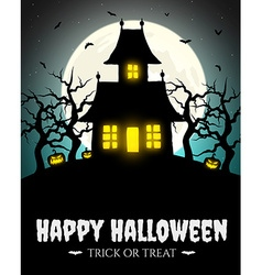 Scary house on hill with moon vector image
