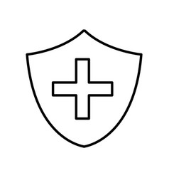 Seal cross emergency security line icon vector