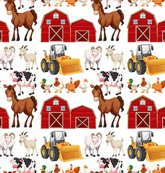 Seamless background with farm animals and barns vector