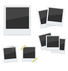 Set Polaroid photo frames on white background vector image
