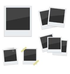 Set Polaroid photo frames on white background vector image vector image