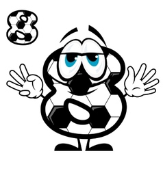Soccer number eight in cartoon style vector
