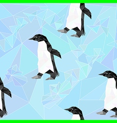 South pole seamless pattern with penguin vector