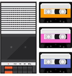 Tape recorder and cassette vector image vector image