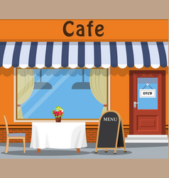 The cafe and the table vector