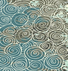 Waves hand drawn pattern background curled vintage vector image