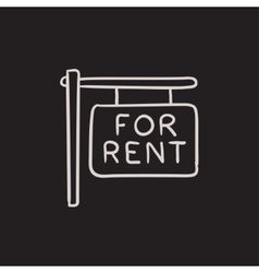 For rent placard sketch icon vector
