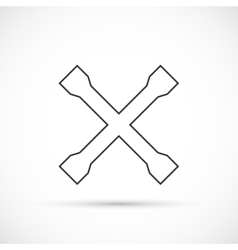 Crossed car wrench outline icon vector image