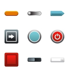 Internet buttons icons set flat style vector image