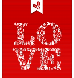 Merry Christmas love concept icons vector image