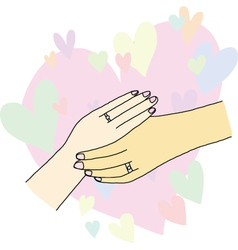 Holding hands of lover vector
