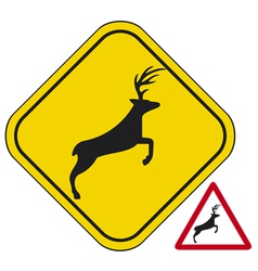 Deer crossing traffic warning sign vector