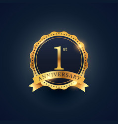 1st anniversary celebration badge label in golden vector