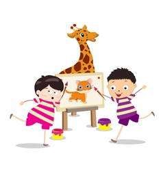 Cartoon kids with painting canvas vector