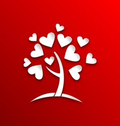 Concept of tree with heart leaves paper cut style vector image