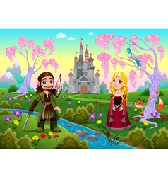 Medieval couple in a landscape with castle vector