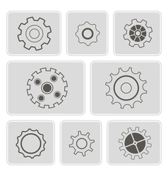 Monochrome icons with rackwheel vector