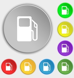 Auto gas station icon sign symbol on five flat vector
