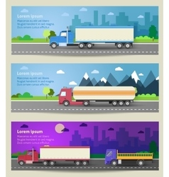 Set of web banners trucks color flat icons vector