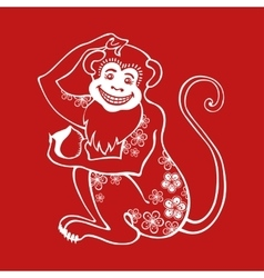 Red monkeychinese zodiac signflower ornament vector
