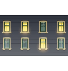 Retro building facade at night vector