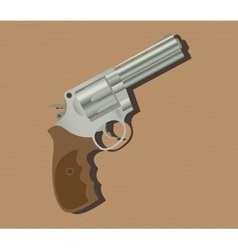 Gun pistols isolated revolver wood background vector