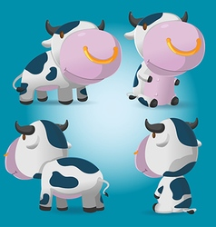 Cow cartoon character pose set vector