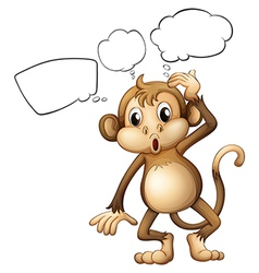 A brown monkey with empty callouts vector image vector image